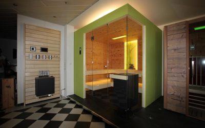 Ausstellungssauna in Arve / Zirbe