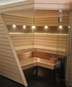 Ging Sauna mit Gebirgsheu - Ausstellungssauna