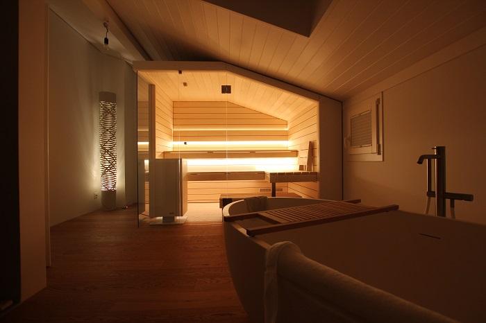 Sauna in Dachschräge