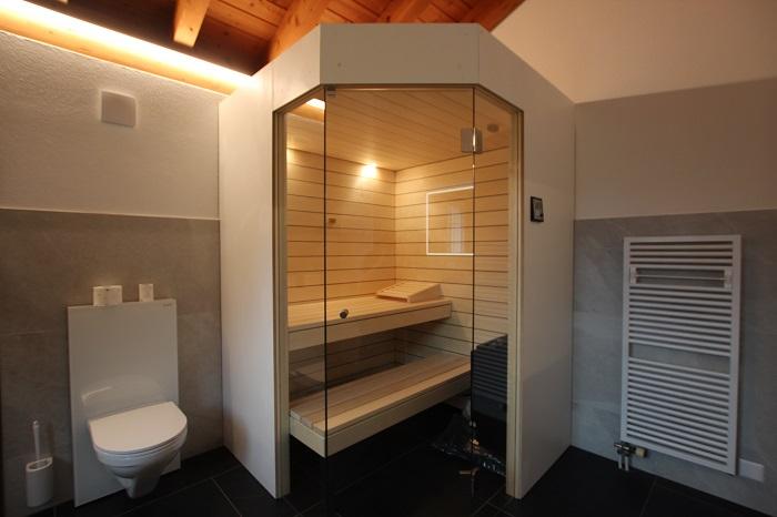 Sauna im Badezimmer, Sauna Aussenansicht - Ging Saunabau AG